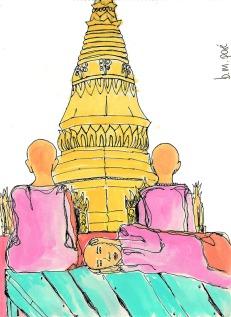 Dibujo Myanmar - Monjas