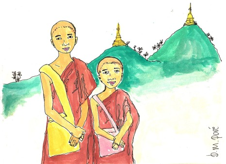 Dibujo Myanmar - Monjes